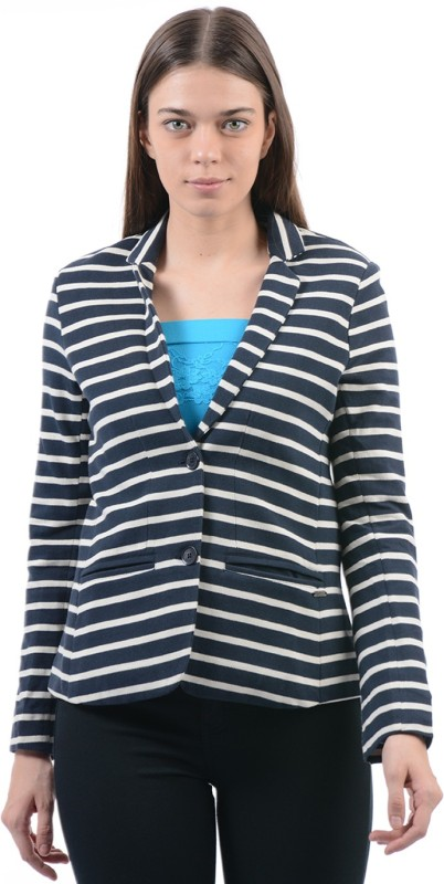 Pepe Jeans Striped Single Breasted Casual Women Blazer(Dark Blue, White)