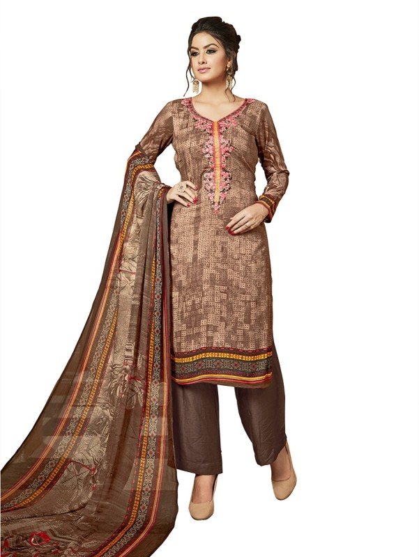 Ethnicbasket Rayon Embroidered Salwar Suit Dupatta Material(Un-stitched)