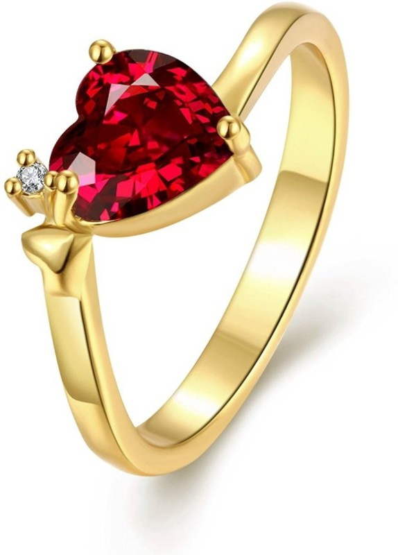 Yellow Chimes Queen Heart' Red Austrian Crystal Metal 18K Yellow Gold Plated...