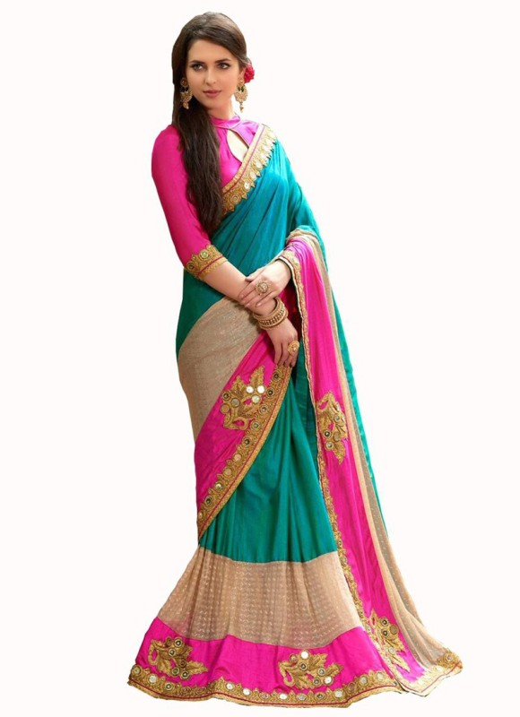 vency creation Embroidered Bollywood Georgette Saree(Multicolor)