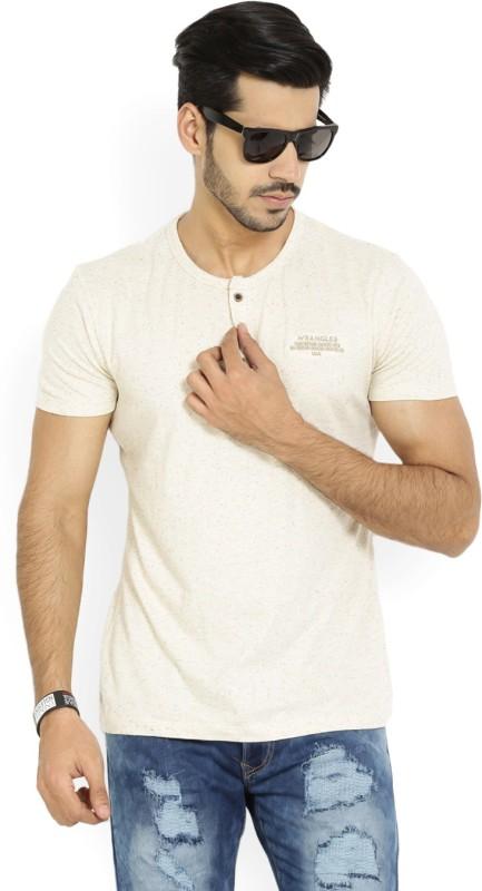 Wrangler Self Design Mens Henley Beige T-Shirt