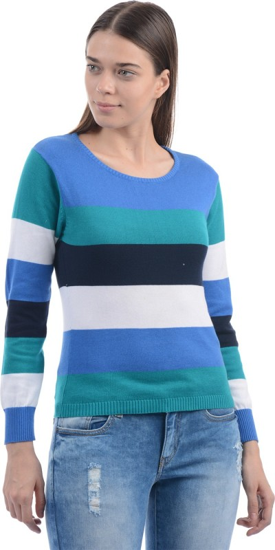 Pepe Jeans Striped Women Round Neck Blue T-Shirt