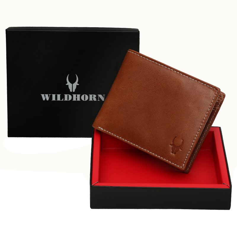 WildHorn Men Tan Genuine Leather Wallet(6 Card Slots)