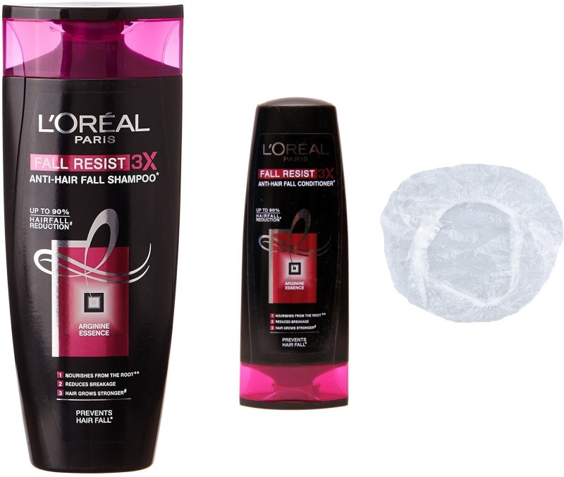 L'Oreal Fall Resist 3x Anti-Hair Fall Set of 3 (Small Shampoo+Conditioner+Shower Cap)(Set of 3)