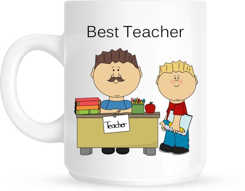 Chanakya Best Teacher White Coffee Ceramic Mug(350 ml)