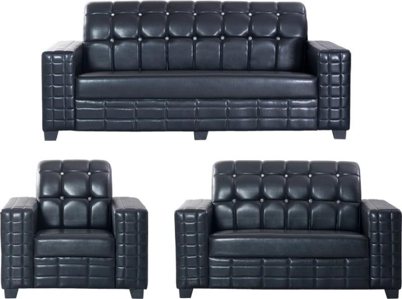 Bharat Lifestyle Black Diamond Leatherette 3 + 2 + 1 Black Sofa Set