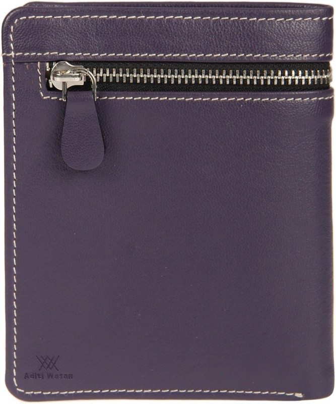 Aditi Wasan Women Purple Genuine Leather Wallet(3 Card Slots)