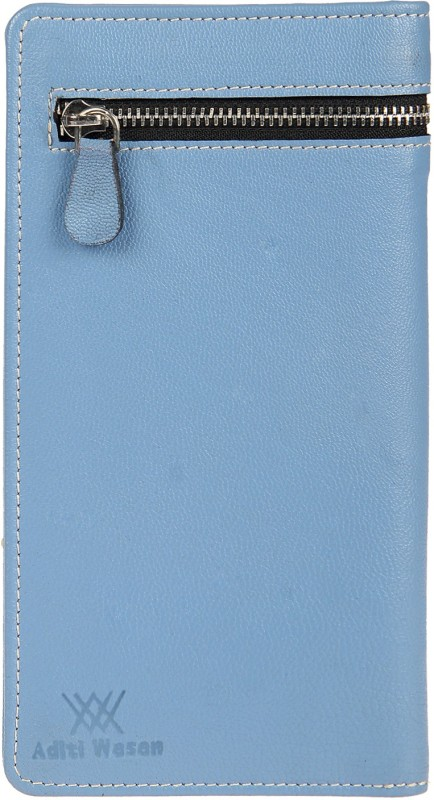 Aditi Wasan Women Blue Genuine Leather Wallet(11 Card Slots)