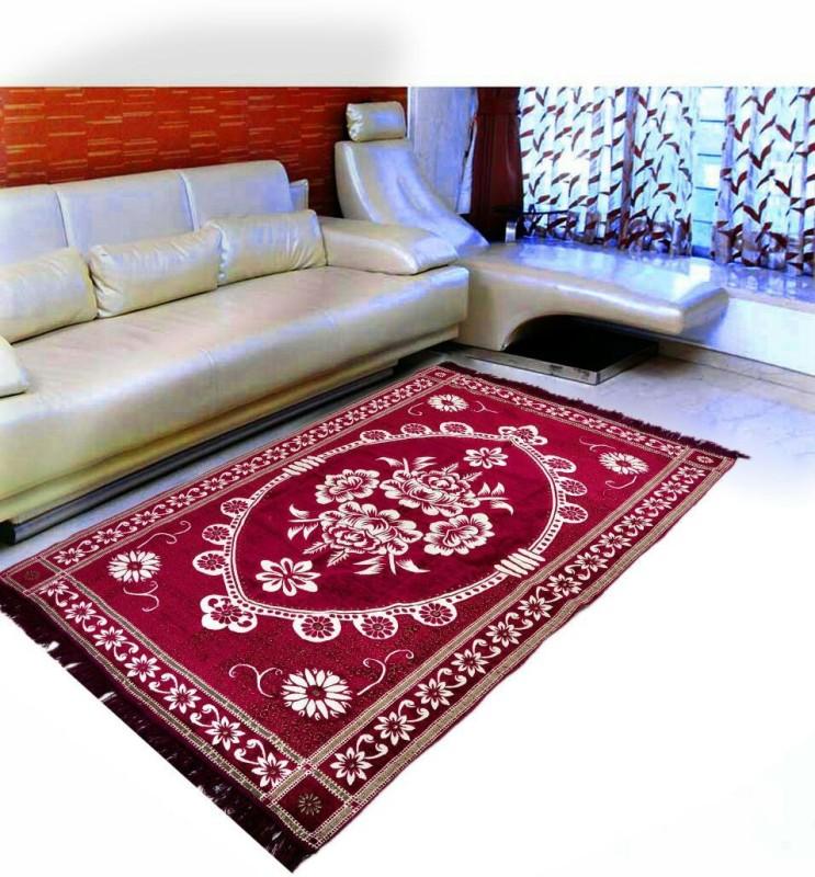 ABhomedecor Maroon Chenille Carpet(152 cm X 213 cm)