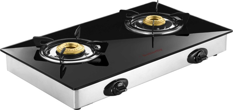 Butterfly JET LPG 2B Glass Top Stainless Steel Manual Gas Stove(2 Burners)