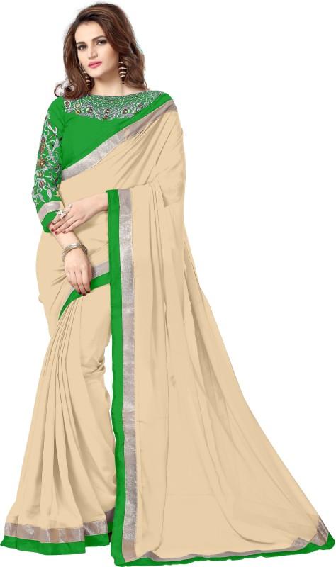 Amar Enterprise Embroidered Daily Wear Georgette Saree(Beige)