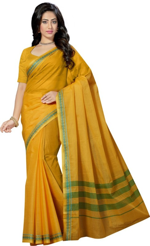 Rani Saahiba Solid Fashion Pure Cotton Saree(Gold)