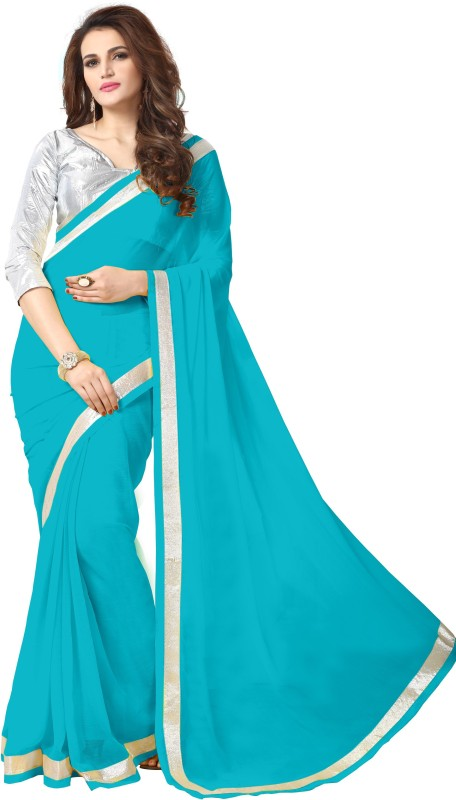 onlinefayda Solid Bollywood Georgette Saree(Light Blue)