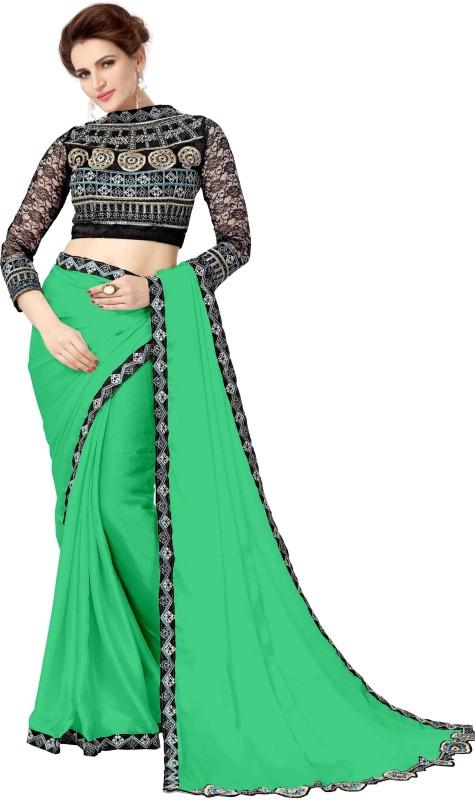 onlinefayda Embroidered Daily Wear Satin Saree(Light Green)