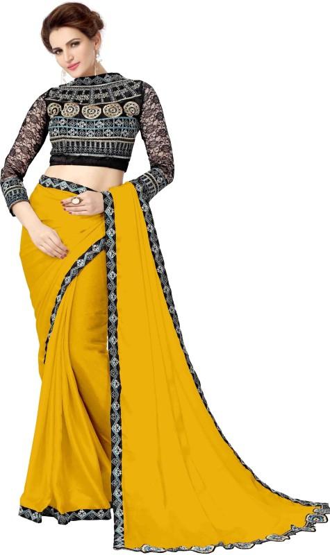 onlinefayda Embroidered Daily Wear Satin Saree(Orange)