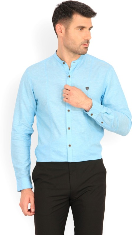 John Players Men Self Design Casual Mandarin Shirt
