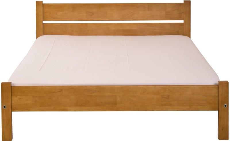 Dovetail Woody Bed Solid Wood Queen Bed(Finish Color - Teak)