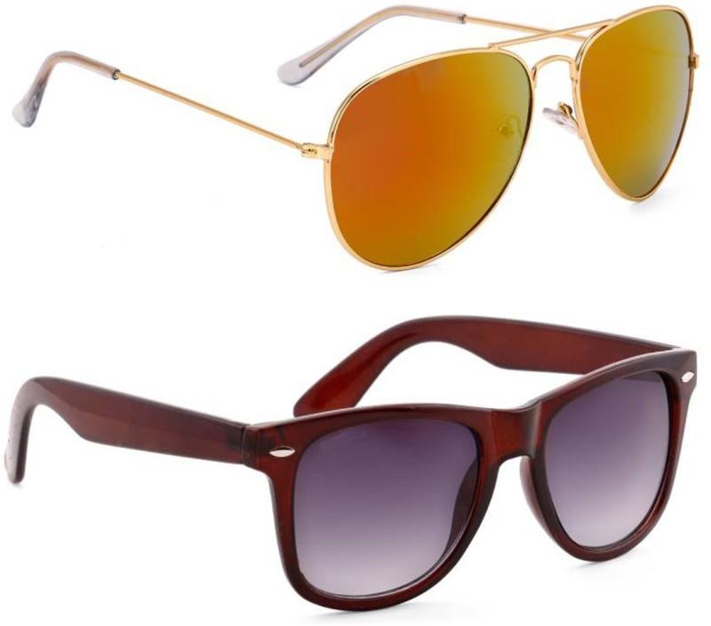 Elgator Aviator, Wayfarer Sunglasses(Brown, Yellow) image