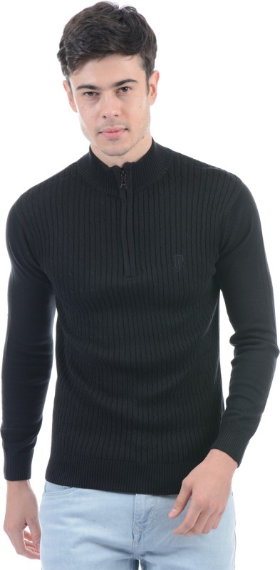 Pepe Jeans Solid Turtle Neck Casual Men Black Sweater