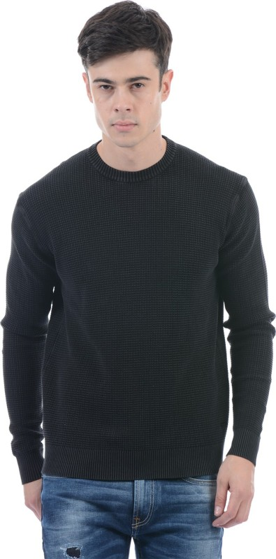 Pepe Jeans Solid Round Neck Casual Men Black Sweater