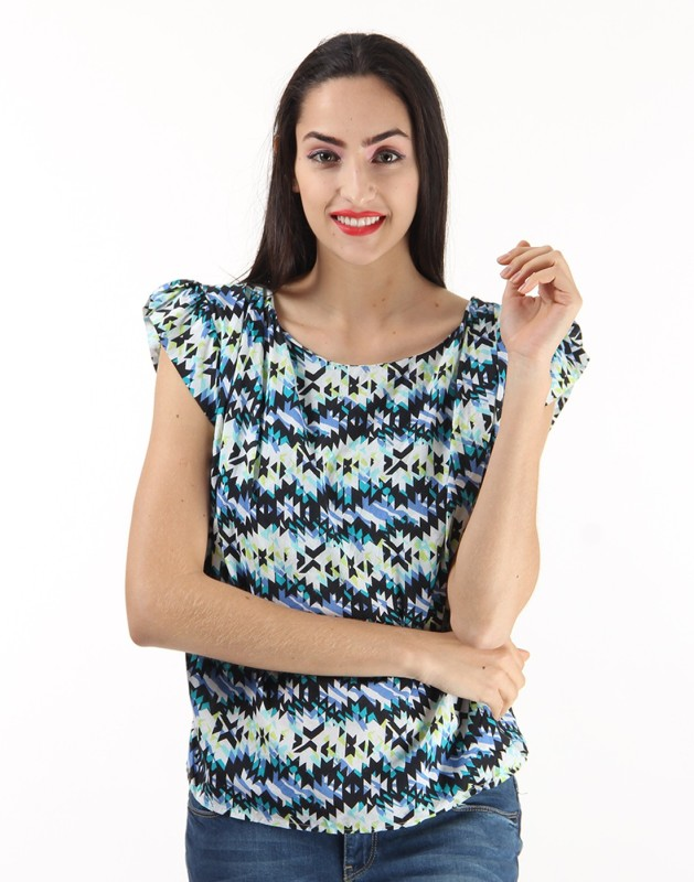 Pepe Jeans Casual Short Sleeve Printed Women Multicolor Top