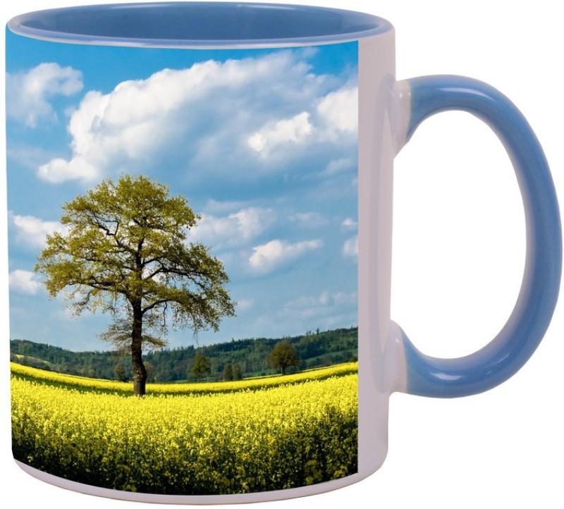 Arkist rapeseed fields Blue Ceramic Mug(340 ml)