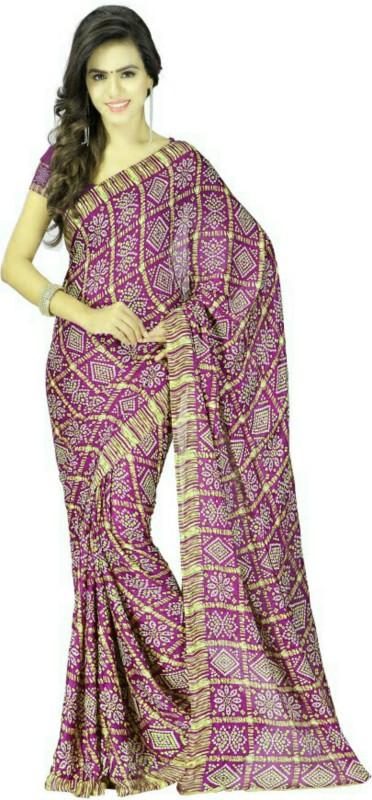 Stylish Sarees Printed Bandhani Synthetic Crepe Saree(Magenta)