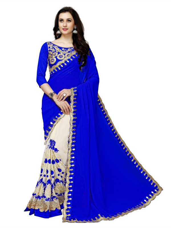 Glory Sarees Embroidered, Embellished Bollywood Faux Georgette Saree(Blue, Beige)
