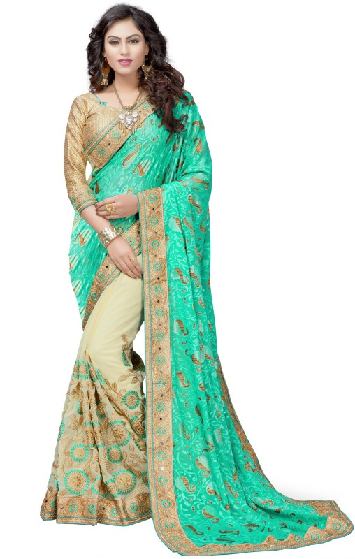 Pragati Fashion Hub Embroidered Bollywood Brasso, Georgette Saree(Blue, Beige)