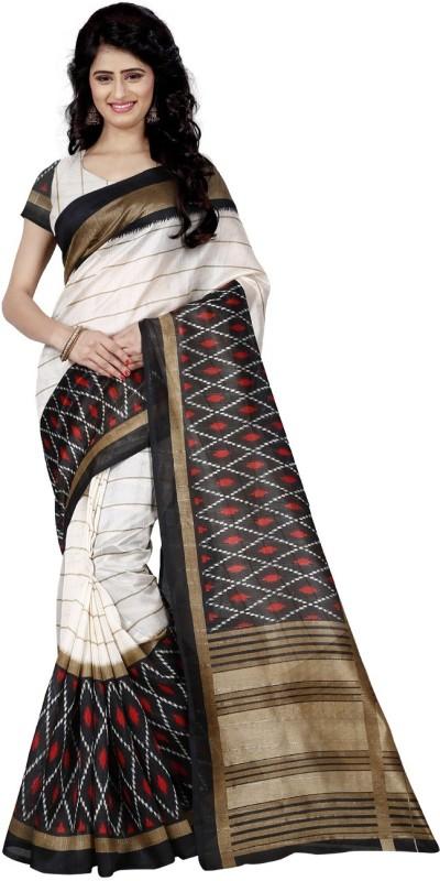 Trendz Style Printed Bhagalpuri Cotton Linen Blend, Silk Cotton Blend Saree(White, Red)