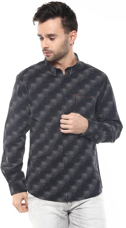 Spykar Mens Printed Casual Black Shirt