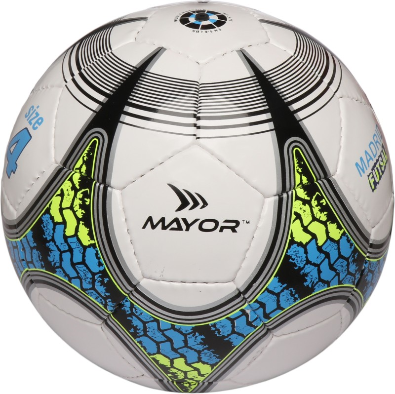 Mayor Madrid Futsal Football - Size: 4(Pack of 1, White, Blue, Green)