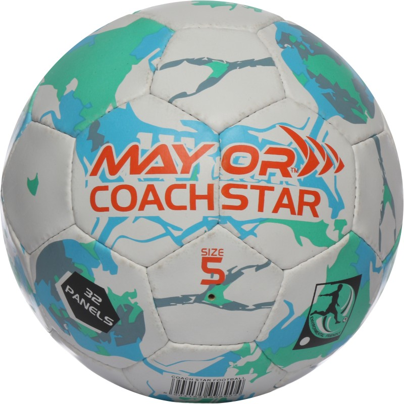 Mayor Coach Star Football - Size: 5(Pack of 1, White, Green, Blue)