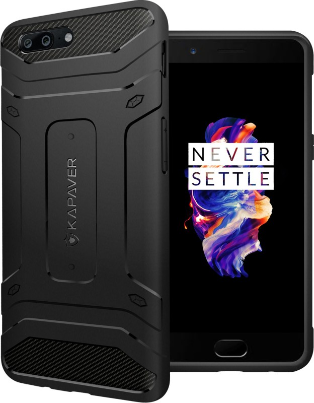 Kapaver Back Cover for OnePlus 5(Black, Rugged Armor, Plastic)