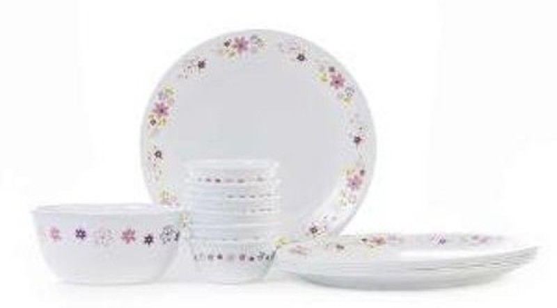 CORELLE Corelle Livingware Series Spring Pink Pack of 14Dinner Set (Glass) Dinner Set(Opalware)