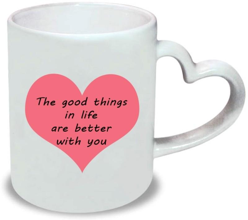 Chanakya Better with you Heart Handle White Coffee Ceramic Mug(350 ml)