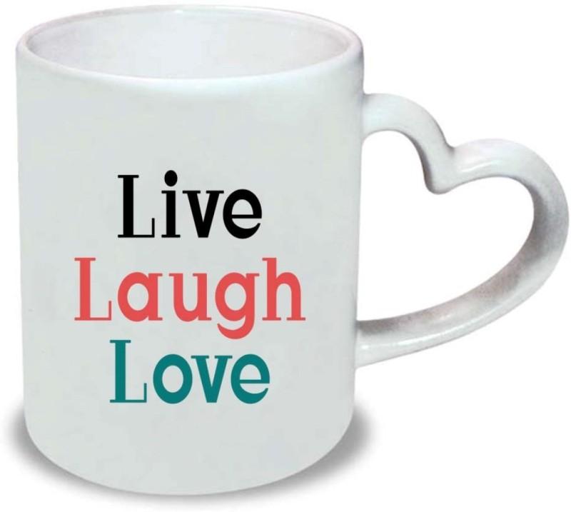 Chanakya Live Laugh Heart Handle White Coffee Ceramic Mug(350 ml)