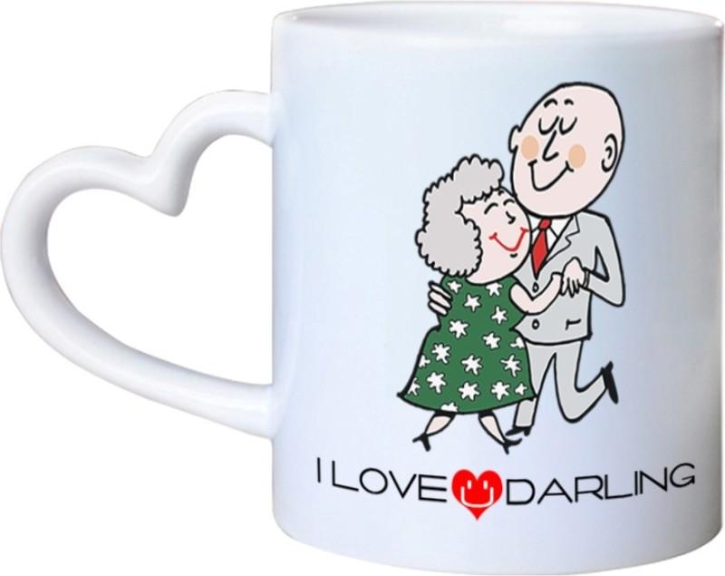 Chanakya I Love U Darling Heart Handle White Coffee Ceramic Mug(350 ml)