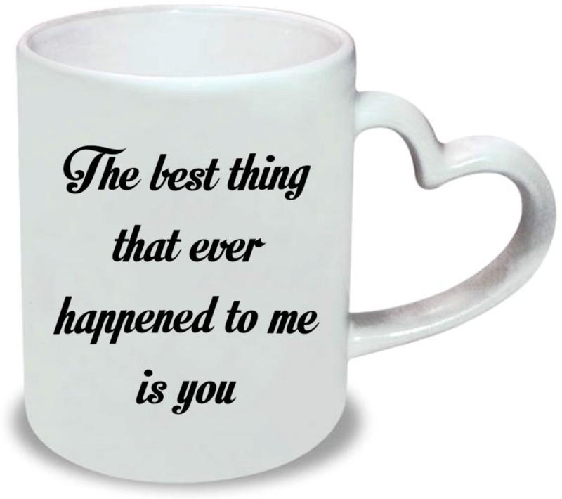 Chanakya Best-thing Heart Handle White Coffee Ceramic Mug(350 ml)