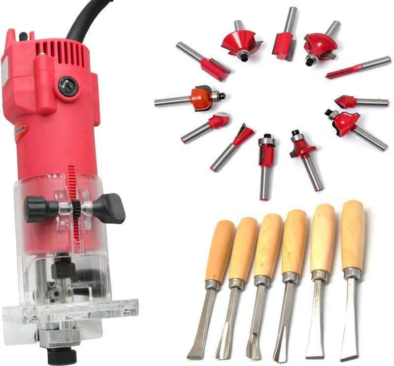 Digital Craft HEAVY DUTY POWERFUL 350W TRIMMER WITH 12 PCS MULTI SHAPES ROUTER WITH WOODEN BOX (6.35MM SHANK) WOOD CARVING SET COMBO OFFER Rotary Tool(6.35 mm)