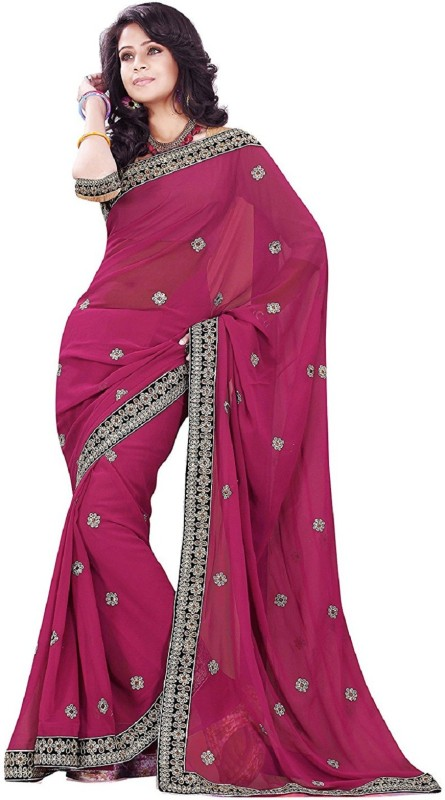 Active Embroidered Bollywood Georgette Saree(Pink)