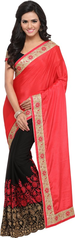 Rola Trendz Embroidered Bollywood Georgette, Chiffon Saree(Multicolor)