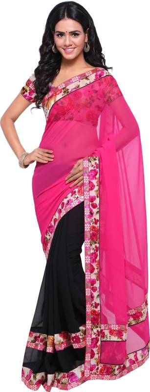 Rola Trendz Floral Print, Self Design, Solid Fashion Georgette Saree(Pink, Black)