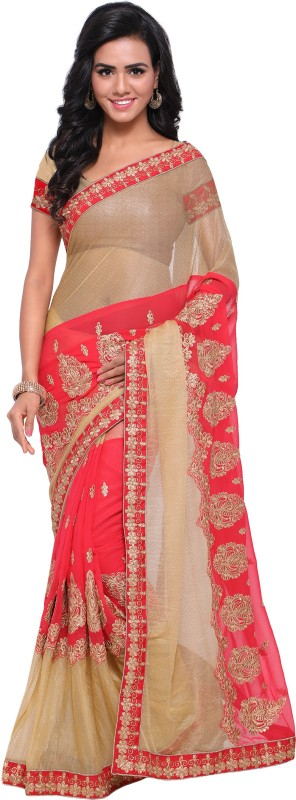 Rola Trendz Embroidered, Self Design, Solid Bollywood Georgette, Net Saree(Beige)