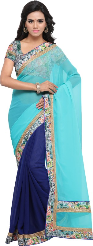 Rola Trendz Floral Print, Self Design, Solid Bollywood Georgette Saree(Blue)