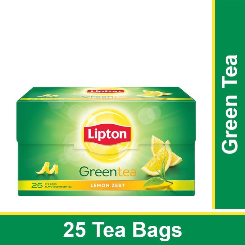Lipton Lemon Zest Green Tea Bags(25 Bags, Box)
