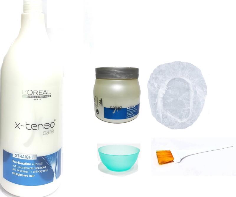 L'Oreal Paris Set of 5 (x-tenso Care Straight Shampoo+Mask+Bowl+Brush+Shower Cap)(Set of 5)