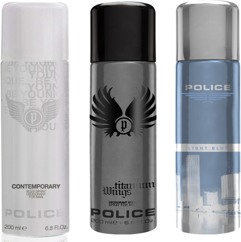 Police Contemporary Titanium Light Blue Deodorant Spray  -  For Men(600 ml, Pack of 3) image
