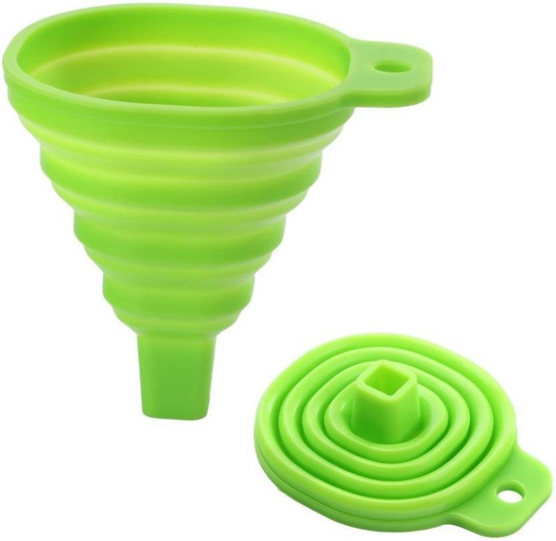 ShopAis Silicone Funnel(Green, Pack of 1)