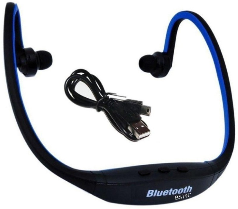 Defloc BS19C 12 Wired & Wireless bluetooth Headphone(Blue, In the Ear)